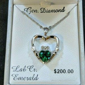 Emerald Silver Diamond Accent Claddagh Pendant$200